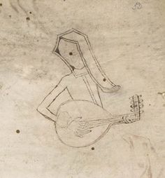 Medieval rockstar The last page of a medieval book is usually a protective flyleaf, which is positioned between the actual text and the bookbinding. It was usually left blank and it therefore often filled up with pen trials, notes, doodles, or drawings. This addition I encountered today and it is not what you'd expect: a full-on drawing of a maiden playing the lute, which she holds just like a guitar. A peaceful smile shines on her face. I love this rockstar lady, so unexpectedly ...