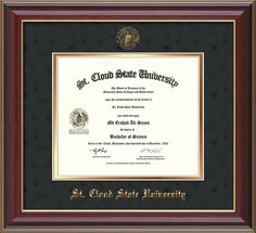 Saint Cloud University - Diploma Frames : With Seal - Black Suede on Gold mat. Click image to see more styles!