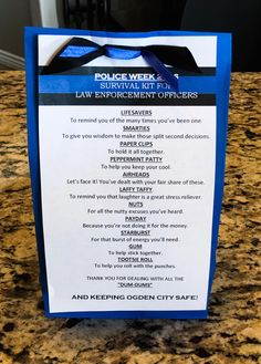 Survival Kit For Law Enforcement Officers [LAST CHANCE] If you are one of Law Enforcement Officers, read this. Police Officer Gifts, Police Gifts, Police Humor, Survival Kit Gifts, Survival Supplies, Survival Gear, Survival Fishing, Survival Hacks, Survival Quotes