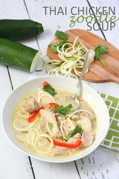 This paleo and low carb Thai Chicken Soup with Zucchini Noodles is a comforting and delicious Keto recipe. It's easy to make and only takes 20 minutes from start to finish! Is it possible to be addicted to a kitchen gadget?I don't mean addicted to kitchen gadgets in general; that's a pretty common addiction, especially among the food blogger set. I readily admit that I am among the many hordes and hordes of home cooks afflicted with 'kitchen gadgetitis', the compulsive pu...
