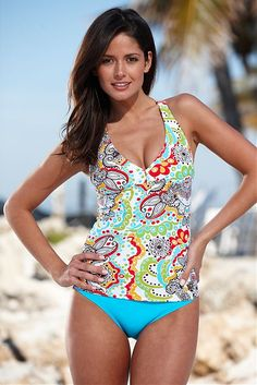 6731dd69b3074 Top for me..Retro V-Neck Tankini - 20% off with code