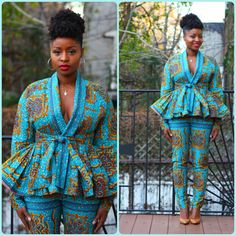 Amoras Sky - Wrap Top/jacket & High Waist Pants Set - Sale!  Ready to ship from Brooklyn in 3 to 5 business days.  Enjoy this two piece set from Tribal Groove while in stock. You can choose to wear it together or separately. Its up to you. Youre sure to feel amazing..Enjoy xxo  Details: 100% cotton sky blue with a caramel pattern...beautiful! (colors may seem different from monitor to monitor) unlined peplum shirt/jacket high waist pants with zipper on the side pockets on pants ...