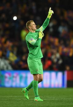 Joe Hart of Manchester City gestures after the UEFA Champions League Round of 16 second leg match between Barcelona and Manchester City at Camp Nou on March 18, 2015 in Barcelona, Catalonia.