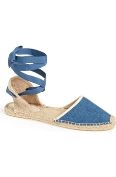 Loving the classic-chic style of these rustic espadrille sandals that are topped with wraparound ribbon straps.