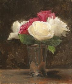 Jacob Collins  Pink and White Roses   2009