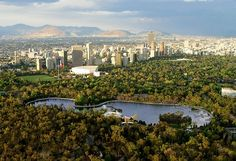 Mexico City, aerial view of Chapultepec.