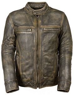 MENS DISTRESSED BROWN MOTORCYCLE JACKET-AIR VENTS Milwaukee Leather…