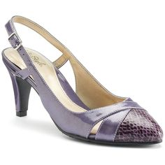 Soft Style by Hush Puppies Rielle Women's High Heels ($59) ❤ liked on Polyvore featuring shoes, pumps, purple, purple pointed toe pumps, purple high heel shoes, sling back pumps, purple patent leather pumps and purple slingback pumps