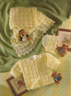 Crochet Baby Jacket Shawl Bonnet Vintage Pattern by OhhhBabyBaby