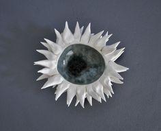 Grey Sky Sea Urchin Bowl - Decor Ceramic  Beach Ocean Candle Holder
