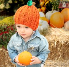 Toddler Pumpkin Hat [knitting pattern]