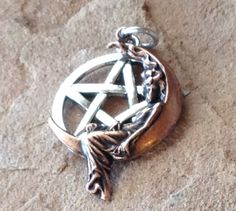 Lady on the Moon Pentagram Pendant Copper Stamping by mommysmoon