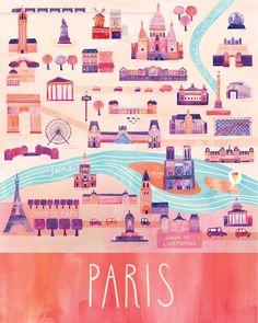 "Illustrated Paris Map, 16"" x 20"", Digital Print. $65.00, via Etsy. LOVE THIS!"