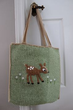 Big Bag with Fawn Applique: pattern for sale  - a beautiful bag in its simplicity. This would work so great even without the fawn; just two huge squares of desired size e.g. with tunisian crochet