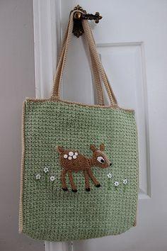 Big Bag with Fawn Applique  by Julie Lapalme.