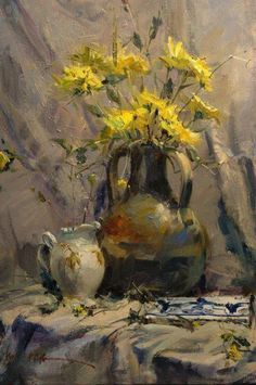 Painting by John Cook American Artist. Painting Still Life, Still Life Art, Still Life Flowers, Art Abstrait, Arte Floral, Beautiful Paintings, Oeuvre D'art, Art Techniques, Art Oil