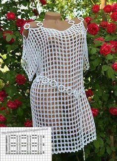 organ-blouse-models-and-constructions- # # – – crochet pattern Crochet Beach Dress, Crochet Tunic, Filet Crochet, Crochet Clothes, Crochet Stitches, Crochet Bikini, Knit Crochet, Crochet Summer, Crochet Free Patterns