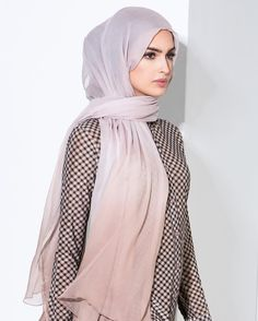 """Nude Grid Shirt & Ombre Rose Chiffon Silk Hijab Shop online & in-store…"