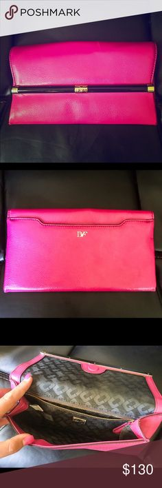 Diane von Furstenberg, Fetish Pink envelope clutch Diane von Furstenberg Envelope Clutch, Fetish pink. Only been used one time, sticker still on inside logo!! Perfect size to accompany an evening out and the zipped pocket is great to hold Ids, cards & money! Diane von Furstenberg Bags Clutches & Wristlets