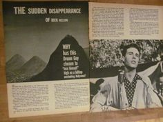 Ricky Nelson,  Two Page Vintage Clipping, Rick