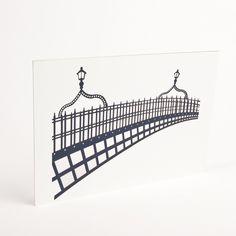 Laser-cut print of the Ha'penny bridge by Snow. Handmade in Ireland Office Artwork, Irish Design, Paint Designs, Dublin, Bridge, Interior, Prints, Ireland, Handmade