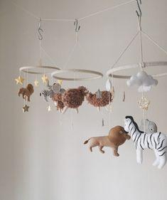 Baby Crib Mobile, Baby Cribs, Baby Room Decor, Nursery Decor, Jungle Nursery, Felt Mobile, Rhinoceros, Let's Create, African Safari