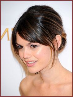 Rachel Bilson...classic updo with bangs