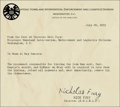 From the Desk of Nick Fury... I thought his handwriting would be more aggresive than semi-cursives.