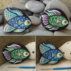 Rock Painting Patterns, Rock Painting Ideas Easy, Rock Painting Designs, Pebble Painting, Pebble Art, Stone Painting, Fish Rocks, Pet Rocks, Ocean Rocks