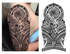 Hummingbird Maori Polynesian Tribal Half Sleeve Tattoo Design. Designer: Andrija Protic