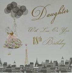 Well this this gorgous 18th daughter birthday card is full of gold glitter and reall Swarovski crystals. Go on trat your special daughter to this stunning 18th birthday card.