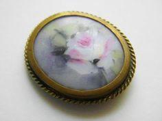 Victorian Rose Milk Glass Pendant Dress Clip by GrandVintageFinery, $32.00