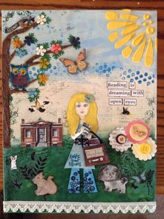 Mixed Media with book, reading, library theme.