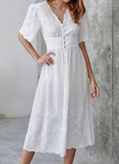 Solid Buttons V-Neckline Midi X-line, Dress - White / XS Super Midi dress Edgy Dress, Black Dress Outfits, Casual Dresses, Prom Dresses, White Dress Casual, White Dress With Sleeves, Half Sleeve Dresses, Stylish Summer Outfits, White Dress Summer
