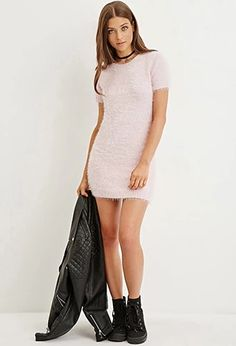 Fuzzy Knit Sweater Dress | Forever 21 #foreverfamily