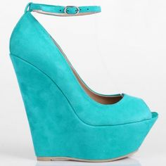 Sun - Suede peep toe high wedges with adjustable ankle straps