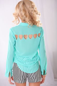 MINT SHEER CHIFFON BUTTON DOWN LONG SLEEVES TOP