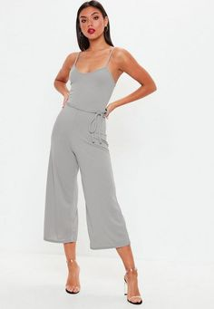 c26a420c Grey Rib Cami Culotte Jumpsuit Missguided, Short Outfits, Playsuit,  Rompers, One Piece