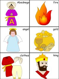 Shadrach Meshach Abednego Bible Crafts | An activity/game that allows children to practice combining nouns ...
