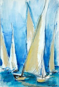 White Sailboats on a Blue Sky  Painting in Watercolor, Pastel, Pen and Ink