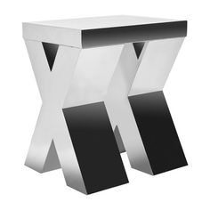 Stainless steel end table with X-style legs.   Product: End table     Construction Material: Stainless steel...