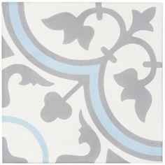 Carreau ciment Bati Orient blanc cassé/gris foncé/bleu décor Classique 20x20cm 16mm CIMI06 - BATI ORIENT IMPORT - null