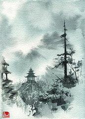 Mountain pagoda - tattoo element