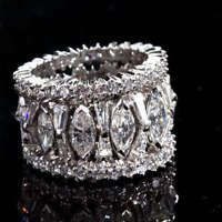 Gorgeous 925 Silver White Sapphire Gem Band Ring Bridal Wedding Women Jewelry