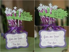 Tinkerbell Party - Pixie Dust sticks... Kennedie is already wanting a purple Tinkerbell party.... we'll see if that's what she still wants in May.  :)