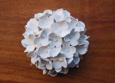 Hydrangea Ball Sculpture White Clay Flower 3D Wall Art by makalewakan