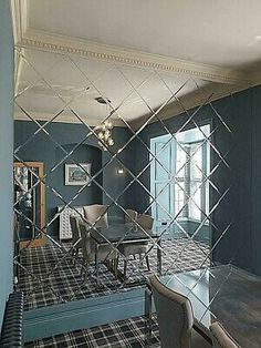 12 Bevelled edge mirror tiles for stunning visual effects - Free Mirror Adhesive Mirror Panel Wall, Mirror Wall Tiles, Wall Tiles Design, Mirror Stairs, Glass Wall Design, Glass Partition Wall, Mirror Decor Living Room, Living Room Sofa Design, Mirror Room