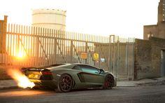 Military Green Lamborghini Aventador Roadster Shooting Flames