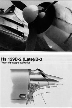 detail exhaust Hs 129 in later versions of the B-2 and B-3, this cut avoiding engine overheating. In the picture the air filter is redesigned and were shielded by a shield 5mm thick.