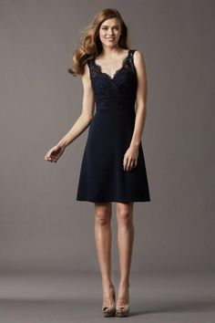 Perfect Straps V Neck Lace Short Bridesmaid Dress USD 89.99 LDPHZGTRGA - LovingDresses.com